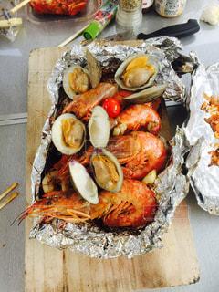 食べ物,キャンプ,貝,料理,バーベキュー,海鮮,野外,海老,ハマグリ,ホイル焼き
