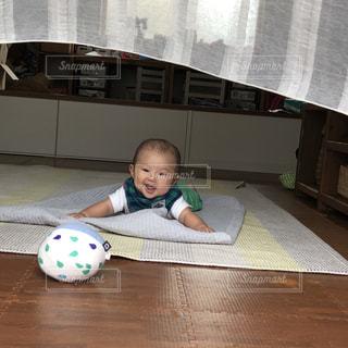 風で揺れるカーテンで喜ぶ赤ちゃんの写真・画像素材[1491754]
