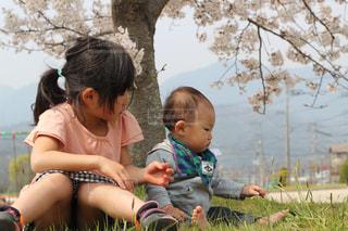 草の中に座っている姉さん弟の写真・画像素材[3108165]