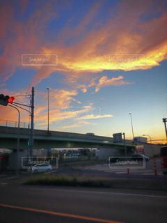 空,雲,夕焼け,道路,秋空