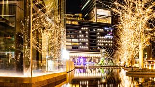 建物,夜,夜景,駅,水,樹木,イルミネーション,都会,リフレクション,Snapmart,街路樹,アンバサダー,グランフロント大阪,シャンパンゴールド