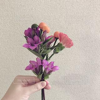 紫の花と花瓶の写真・画像素材[1553788]