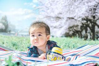 ラクマグ持ってお花見の写真・画像素材[2054452]