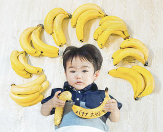 子ども,屋内,赤ちゃん,たくさん,幼児,バナナ