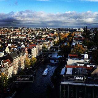 空,秋,アムステルダム,クルーズ,運河,古い街並み,秋空