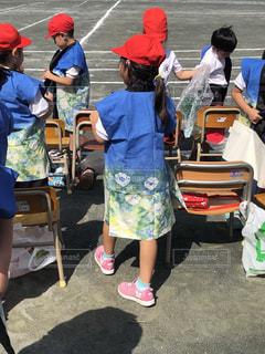 子供,運動会,赤白帽子,陣羽織