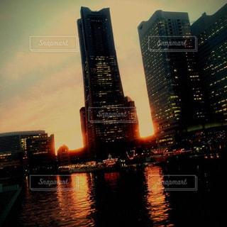 空,夕日,雲,景色,横浜,夕陽,秋空