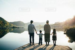 家族,太陽,夕焼け,ポジティブ