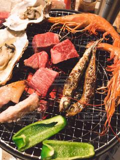 屋外,楽しい,野菜,食べる,肉,おいしい,バーベキュー,食,魚介,食欲の秋
