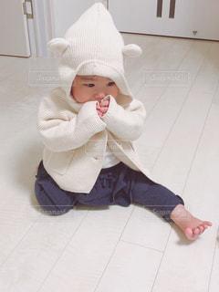 冬,白,子供,女の子,人物,人,赤ちゃん,ベビー,ホワイト,娘,白くま,クマさん,クマさんパーカー