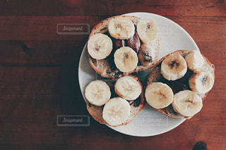 食べ物,朝食,パン,デザート,フルーツ,果物,皿,チョコ,木目,レシピ,バナナ,スライス