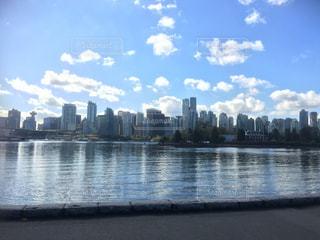 風景,秋,雲,水辺,都会,カナダ,秋空,湾