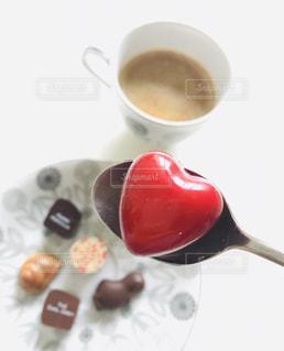 スイーツ,コーヒー,赤,スプーン,ハート,チョコレート,バレンタイン,チョコ,お皿,レッド,大好き,スウィーツ,バレンタインデー,至福の時,ご褒美チョコ