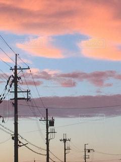 空,雲,夕暮れ,電線,秋の空