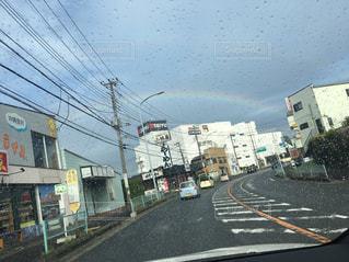 屋外,虹,道路,レインボー,道,通り