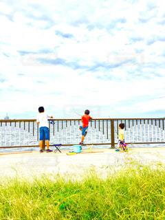 子ども,空,魚,屋外,男子,草,仲良し,港,釣り,兄弟,秋空