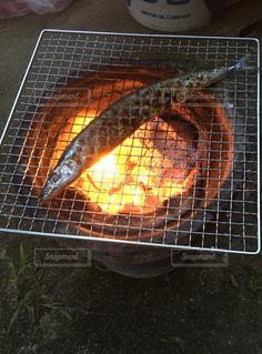 七輪で秋刀魚を焼くの写真・画像素材[1516578]