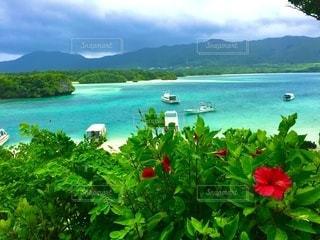 海とボートと山の写真・画像素材[3585575]