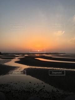 秋,夕日,海岸,旅行,デート,大分,秋空,干潟,真玉海岸