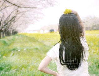 桜と菜の花とわたしの写真・画像素材[2282265]