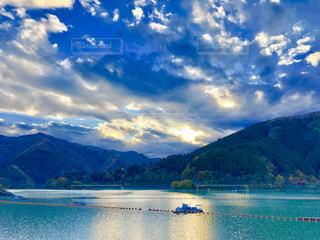 自然,空,湖,雲,ボート,水面,山