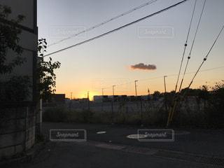 空,屋外,太陽,夕暮れ,光,樹木,電線,クラウド