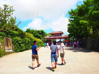 男性,空,沖縄,観光,後姿,首里城