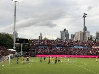 芝生,屋外,夕暮れ,サッカー,タイ,スタジアム,バンコク,応援,ゴール