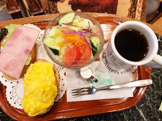 コーヒー,朝食,テーブル,サラダ,卵,テーブルフォト,モーニング