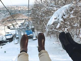 2人,雪,屋外,雪山,北海道,人物,人,ブーツ,ポートレート,脚,札幌,リフト,斜面,大倉山ジャンプ台