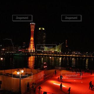 夜,神戸,ポートタワー,スケート,ナイト,アイススケート