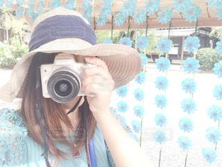 女性,夏,カメラ,自撮り,風車,女,一眼,水無瀬,水無瀬神社