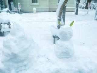 雪の中に立っている人の写真・画像素材[2821066]