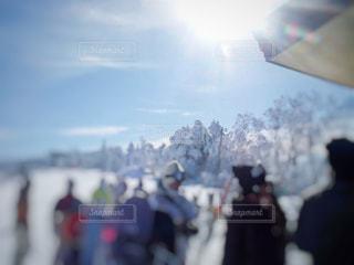 空,冬,群衆,雪,屋外,太陽,光,人,スキー,スノボ