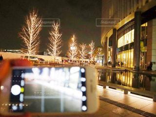 冬,夜,水面,樹木,イルミネーション,明るい,グランフロント,シャンパンゴールド