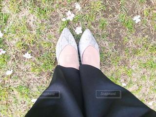 草の中に立っている人の写真・画像素材[3080228]