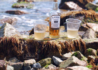 屋外,ビーチ,水面,岩,ボトル,ビール,ドリンク,アルコール,サントリー,飲料,アンバサダー,アルコール飲料