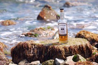 海,空,屋外,手,水面,岩,人物,人,ボトル,ビール,ウイスキー,ドリンク,アルコール,サントリー,飲料,アンバサダー,アルコール飲料