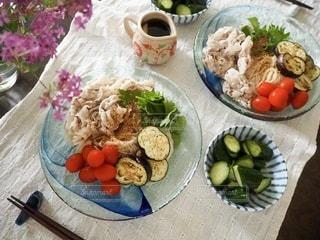 豚しゃぶと夏野菜の素麺の写真・画像素材[3578896]