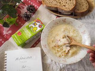 朝食,家,パン,スープ,人,ノート,朝,手帳,豆乳,クラムチャウダー,ホッ豆乳,豆乳クラムチャウダー