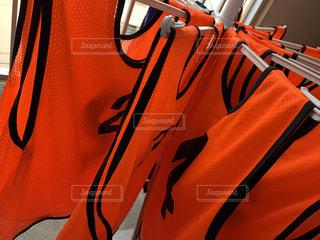 ベランダ,オレンジ,サッカー,運動,洗濯,ビブス
