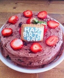 いちごのチョコレートケーキの写真・画像素材[4032193]