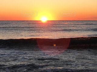 海,空,冬,太陽,水面,オレンジ,光,日の出,太平洋,厳冬