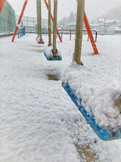 校庭の雪景色の写真・画像素材[1752606]