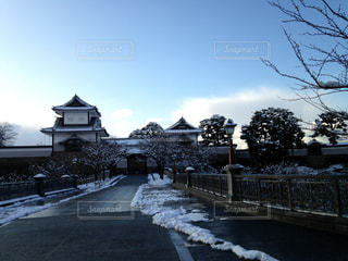 風景,空,雪,屋外,白,雪景色,城,景色,旅行,金沢,ホワイト,インスタ映え