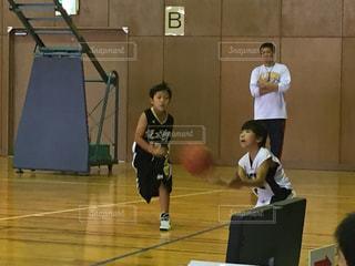 子供,バスケット,ボール,試合,ユニフォーム,ミニバス
