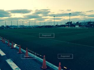 風景,空,芝生,夕暮れ,サッカー