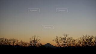 夕景の富士山の写真・画像素材[4606600]
