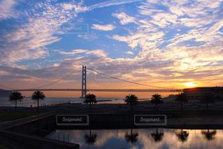 明石海峡大橋と空と海の写真・画像素材[2285403]