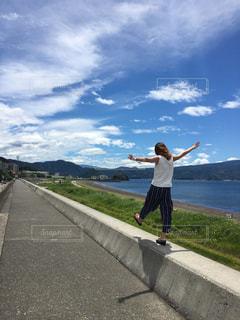 自然,海,空,青空,人物,人,パーマ,ゆるふわ